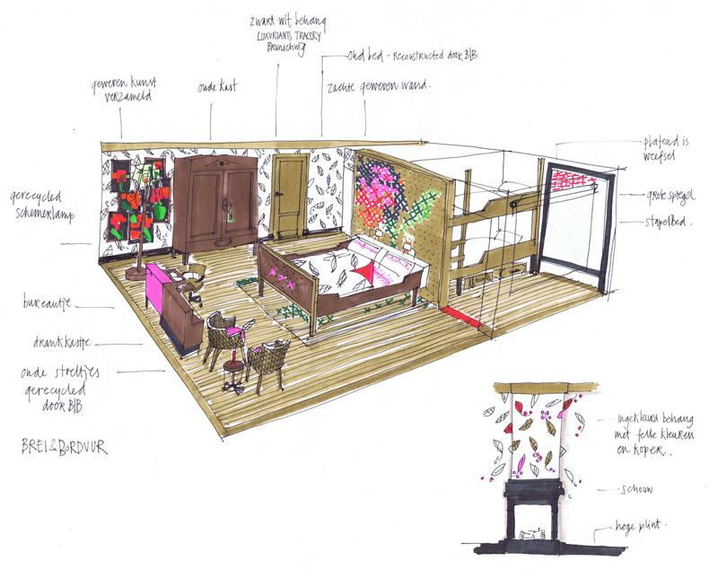 Kamer blad borduur villa pastorie - Decoratie van een kamer ...